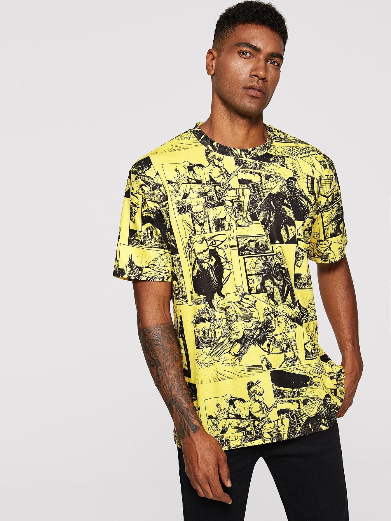 Купить Мужская футболка с графическим принтом, Johnn Silva, SheIn