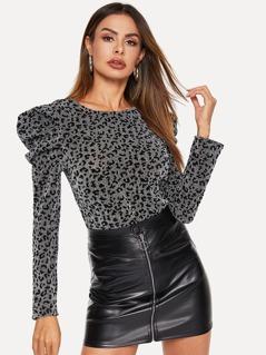 Keyhole Back Puff Sleeve Leopard Glitter Top