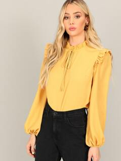 Frill Trim Knot Neck Bishop Sleeve Blouse