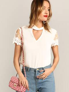 Choker Neck Scallop Lace Sleeve Top