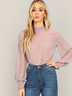 Glitter Thread Shirred Trim Blouse