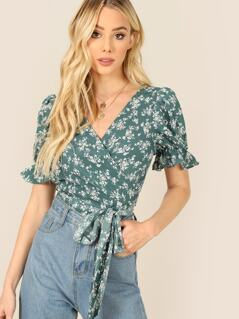 Ditsy Floral Side Tie Wrap Blouse