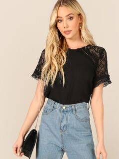 Button Keyhole Back Lace Sleeve Top