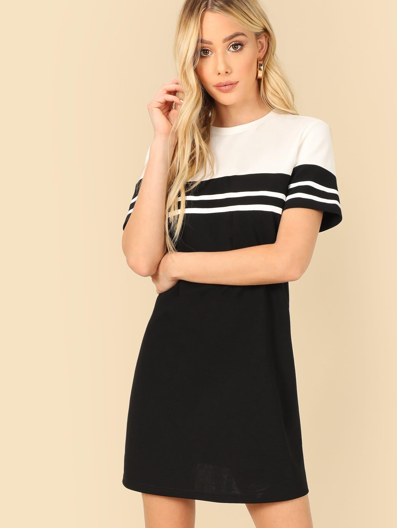 Купить Двухцветная полосатая футболка-платье, Celeste Bright, SheIn