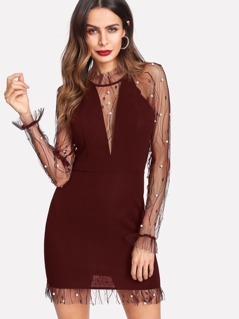 Pearl Beaded Mesh Insert Frill Neck Fitted Dress