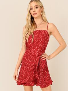 Ruffle Trim Wrap Belted Cami Dress