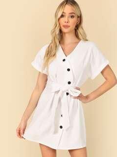 Button Through Wrap Belted Dress