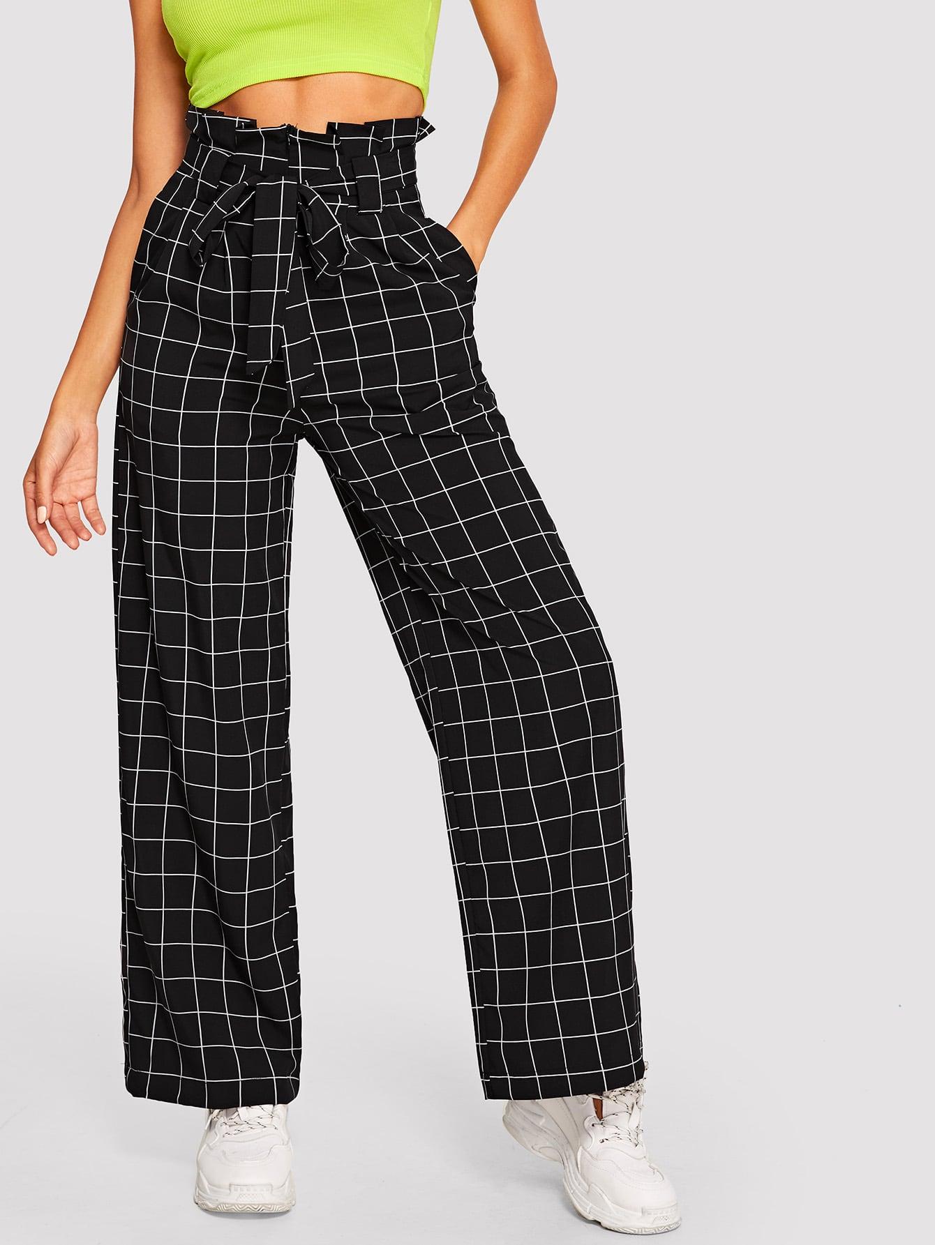 Широкие брюки в клетку с упругой талией, Mary P., SheIn  - купить со скидкой