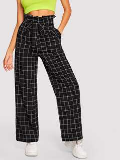 Paper-bag Waist Wide Leg Plaid Pants