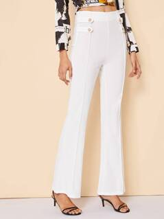 Buttoned Strap Detail Front Seam Flared Pants