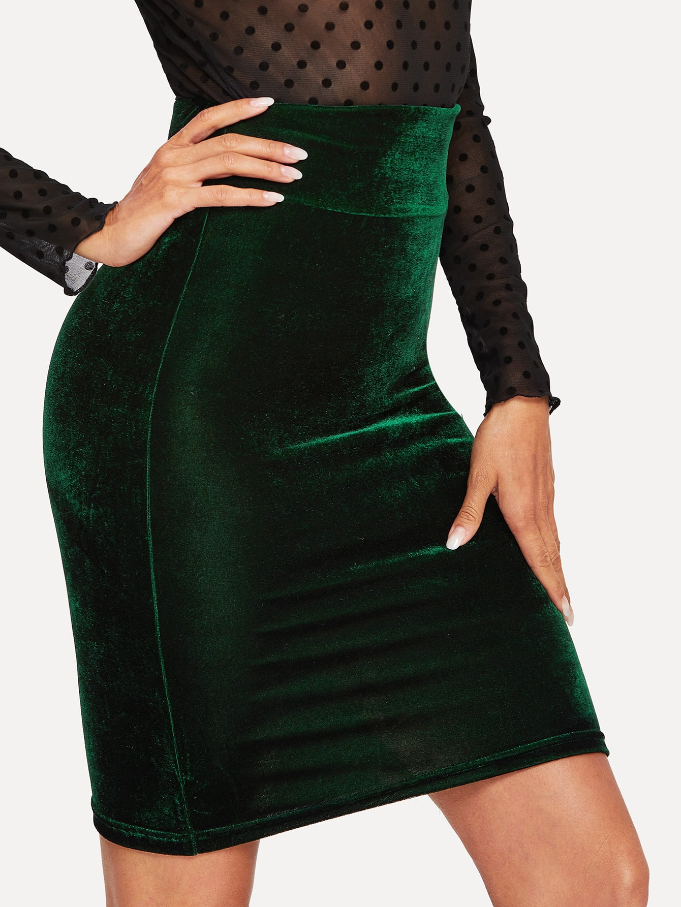Купить Бархатная облегающая юбка с широкой талией, Andy, SheIn