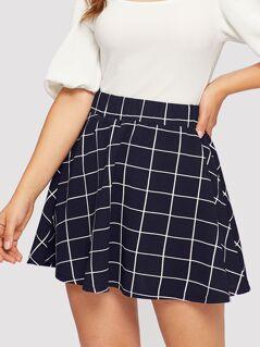Grid Print Flare Skirt