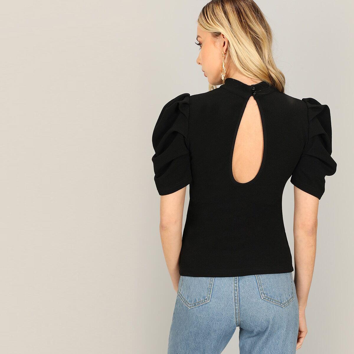Zwart Elegant Vlak T-shirts Knoop