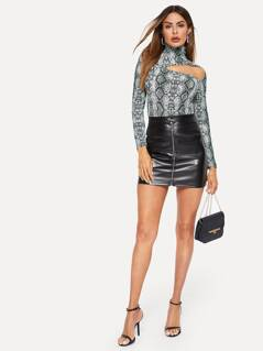 High Neck Cut Out Front Snakeskin Fitted Top