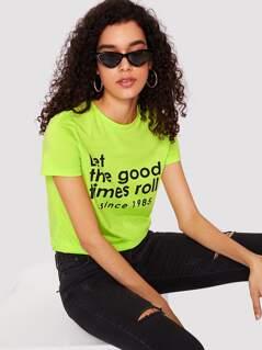 Slogan Print Neon Top