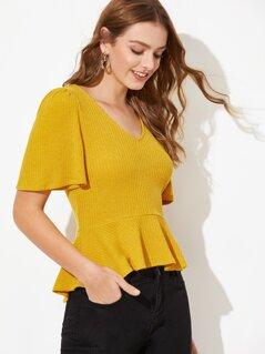 Rib-knit Flutter Sleeve Peplum Top