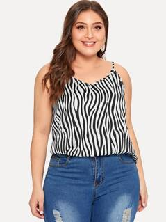 Plus Zebra Print Cami Top