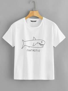 Shark & Letter Print Top