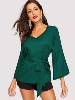 Lace Trim V Neck Bell Sleeve Belted Top