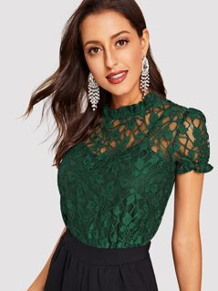 Frill Trim Guipure Lace Overlay Top