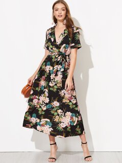 Surplice Neck Self Belted Floral Dress