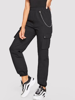 Pocket Side Lantern Pants With Chain