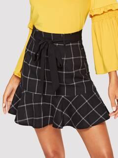 Ruffle Hem Belted Grid Skirt