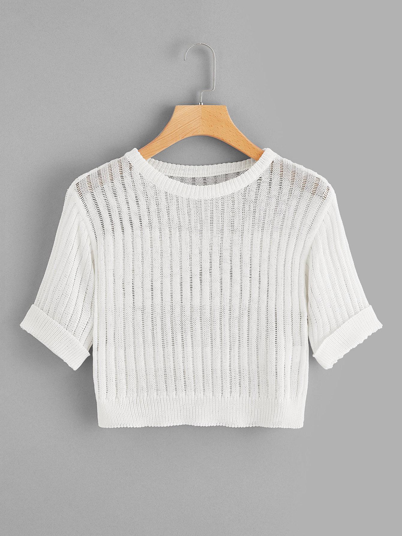 Купить Трикотажный укороченный свитер с отворачивающимся манжетой, null, SheIn