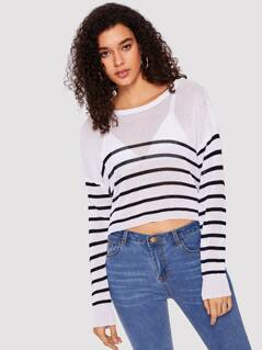 Buttoned Shoulder Striped Crop Sweater