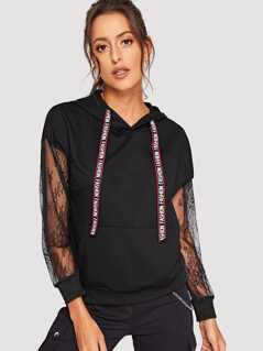 Letter Tape Drawstring Sheer Lace Sleeve Hoodie