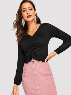 Ruched Front Ruffle Hem Tee