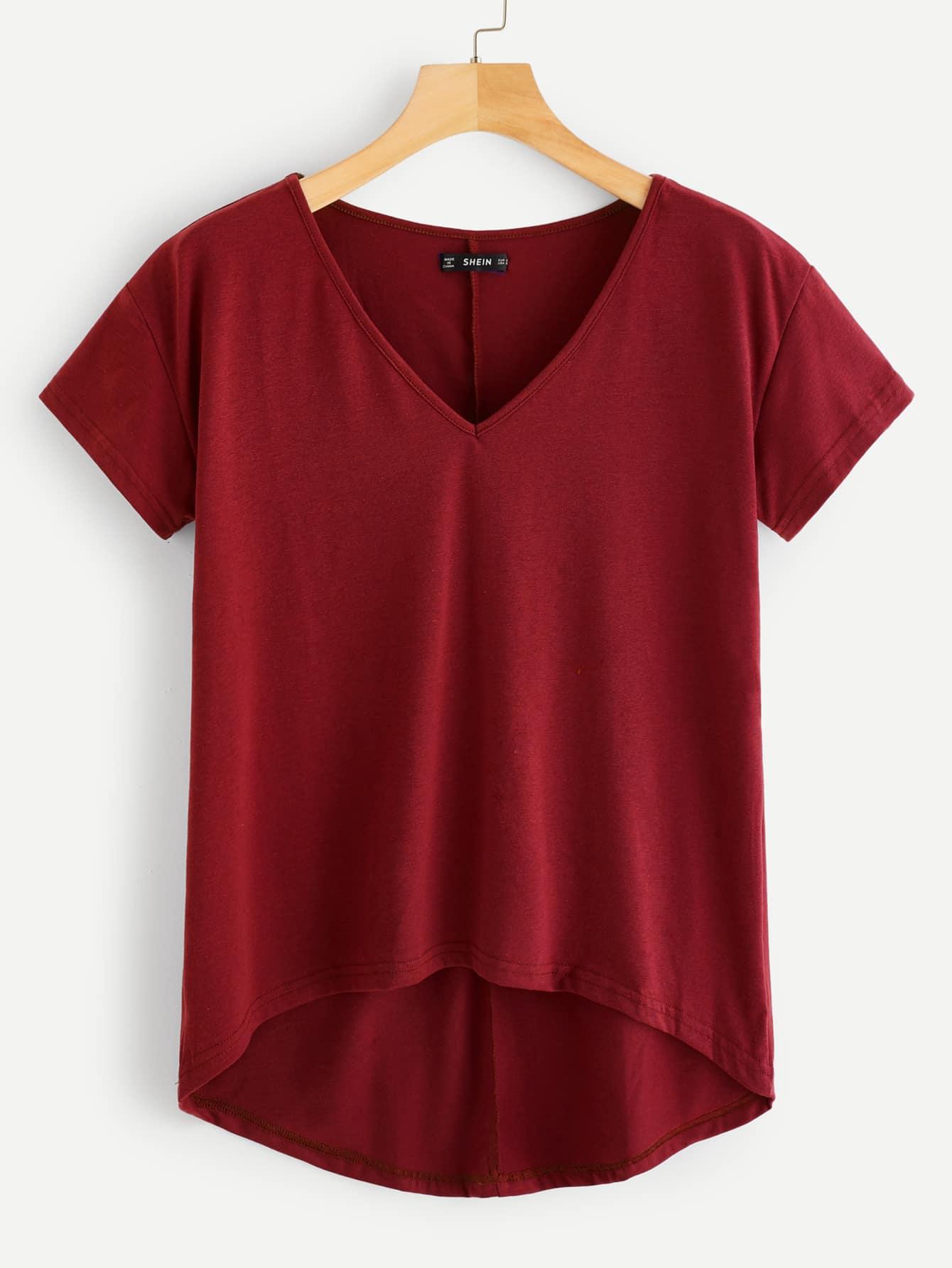 Купить Асимметричная однотонная футболка с v-образным вырезом, null, SheIn
