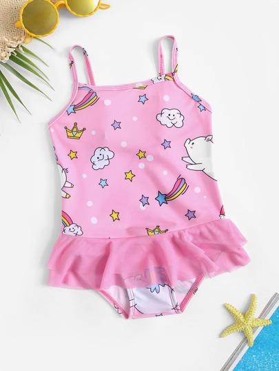 cc8e980475354 ملابس سباحة قطعة واحدة مكشكش برسوم متحركة عشوائية -للبنات الصغار