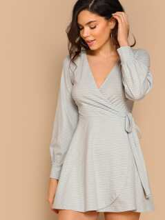 Surplice Wrap Self Tie Striped Dress