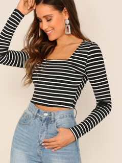 Square Neck Crop Striped Tee