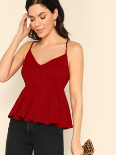 Ribbed Solid Peplum Cami Top