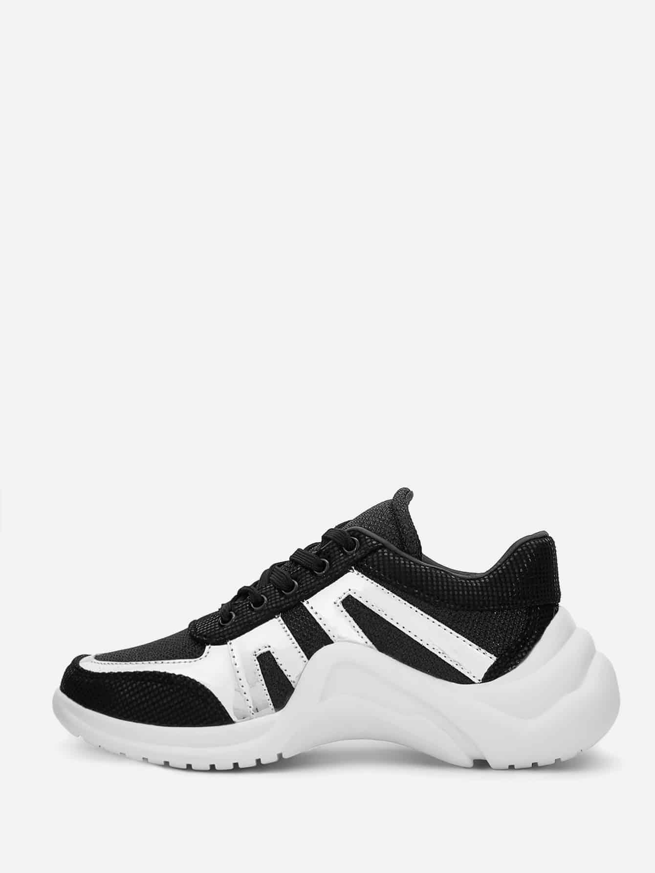 Купить Двухцветные коренастые кроссовки на шнуровке, null, SheIn
