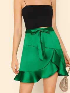 Bow Tie Waist Ruffle Satin Skirt