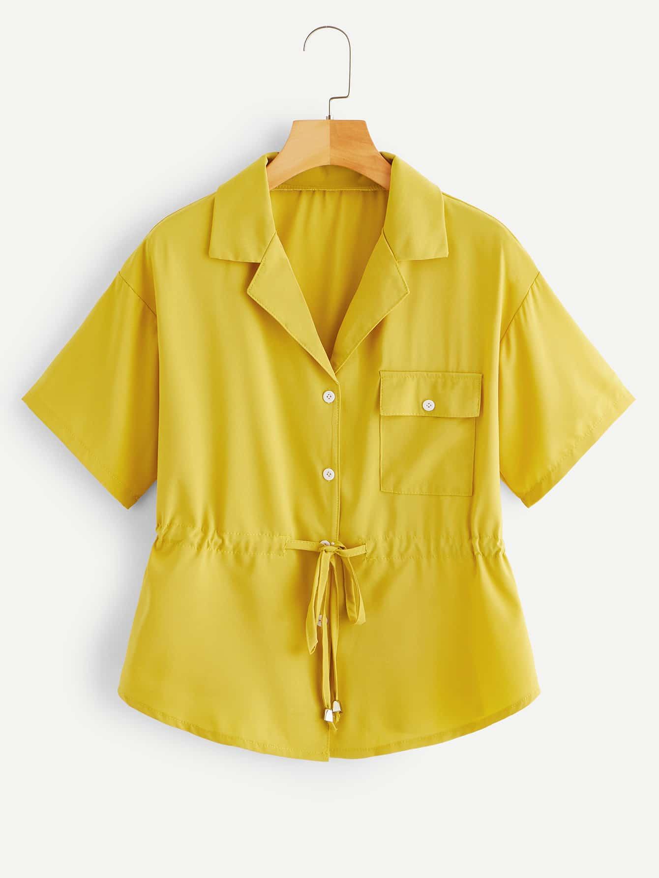 Купить Блуза с кулиской на талии и карманом, null, SheIn