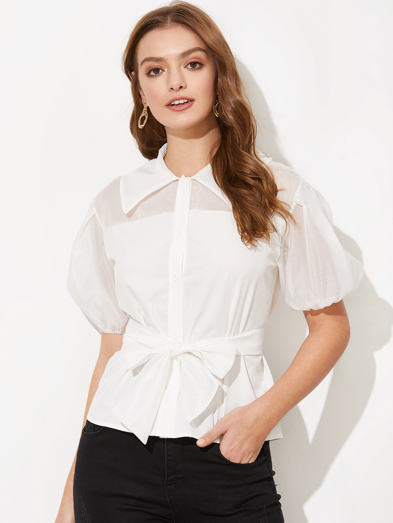 Купить Контрастная блузка из органзы с поясом, Luiza, SheIn