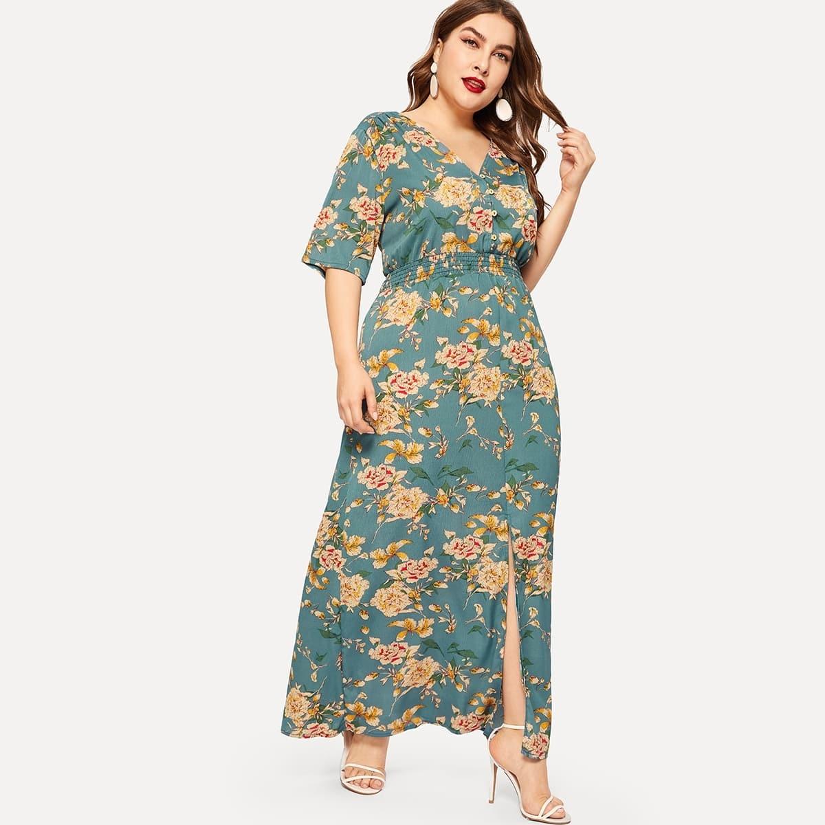 Размера плюс платье с разрезом и цветочным принтом