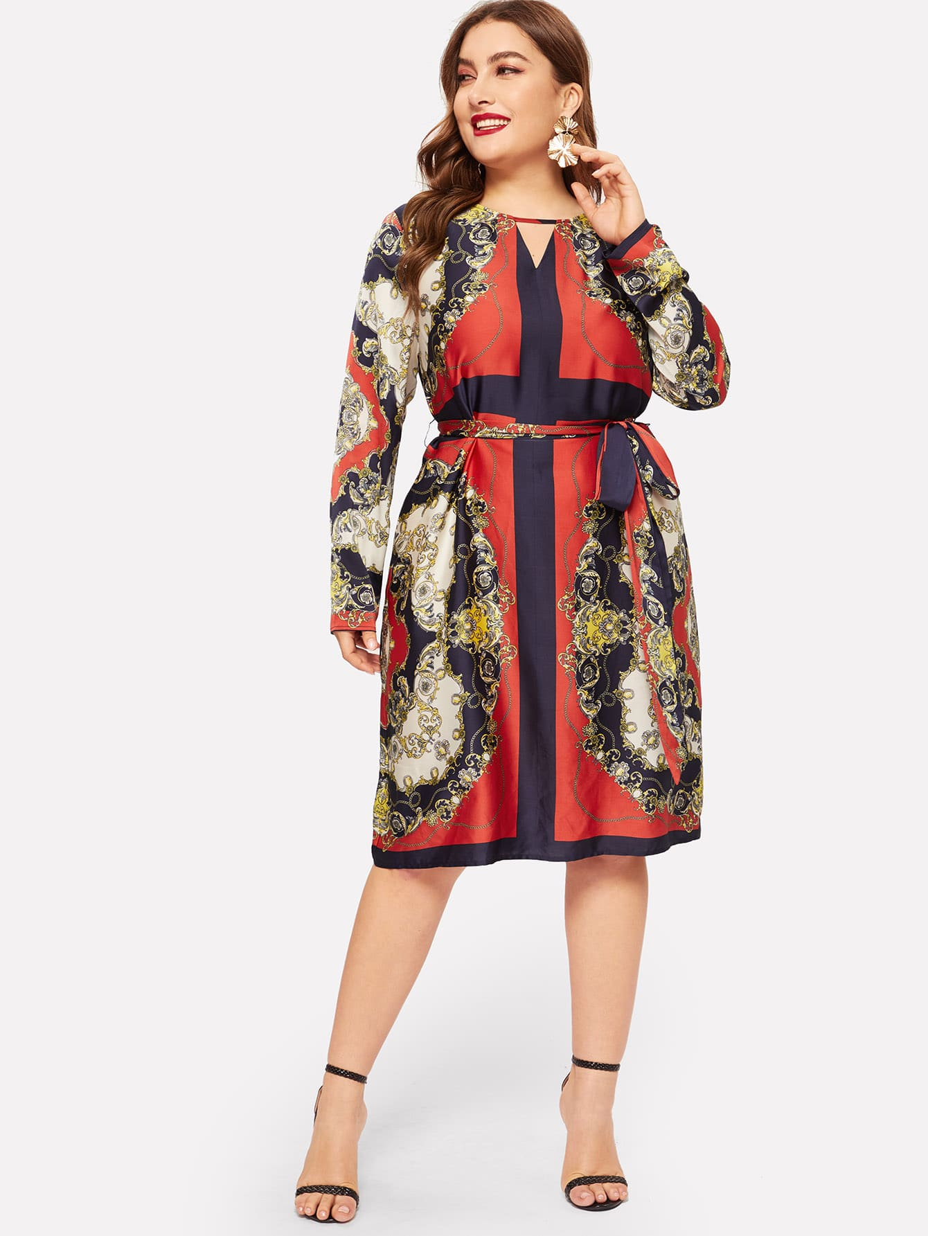 Купить Размер плюс платье с модным принтом и поясом, Franziska, SheIn