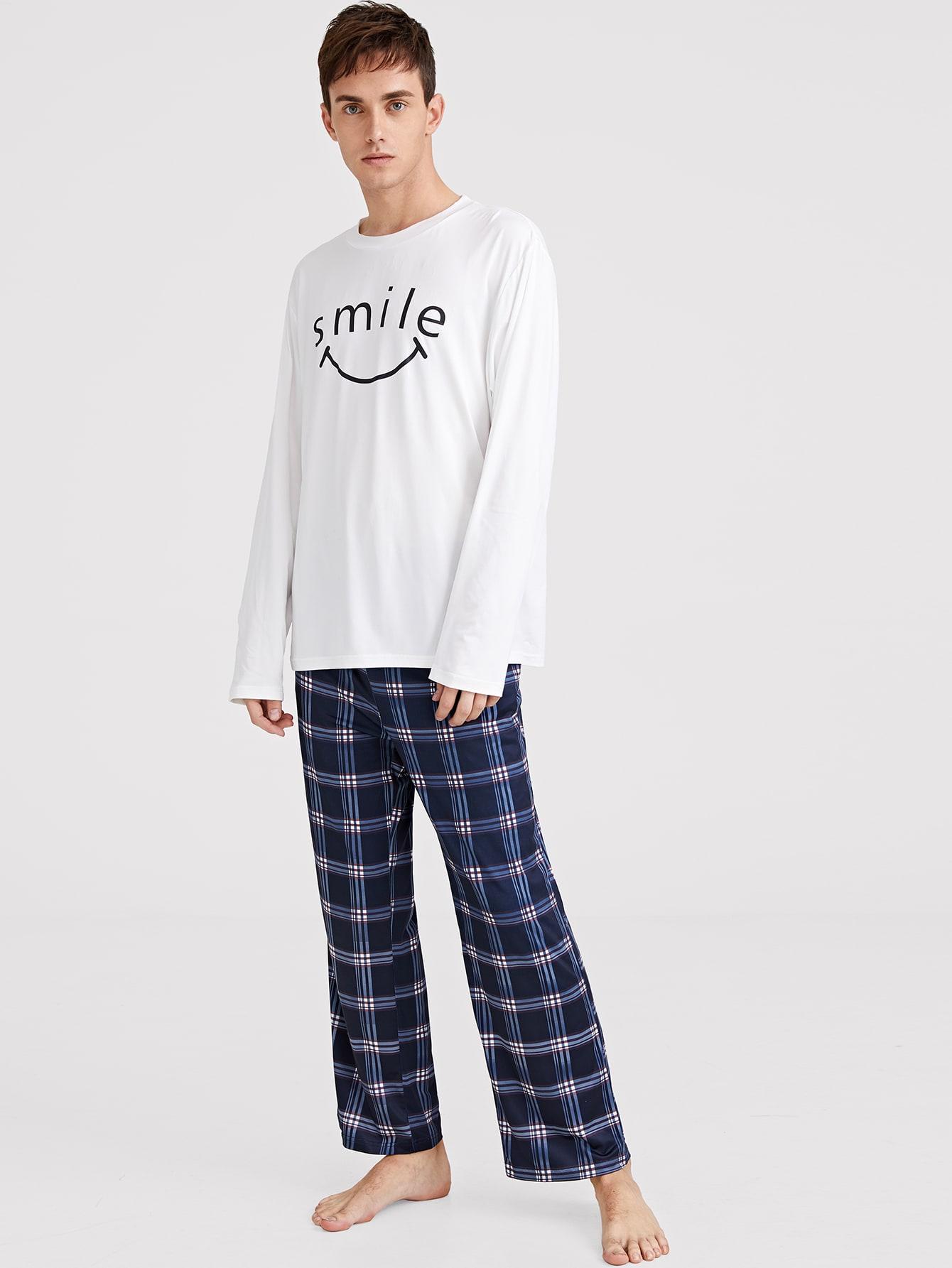 Купить Мужской топ с текстовым принтом и шорты в клетку пижама комплект, Valerian, SheIn
