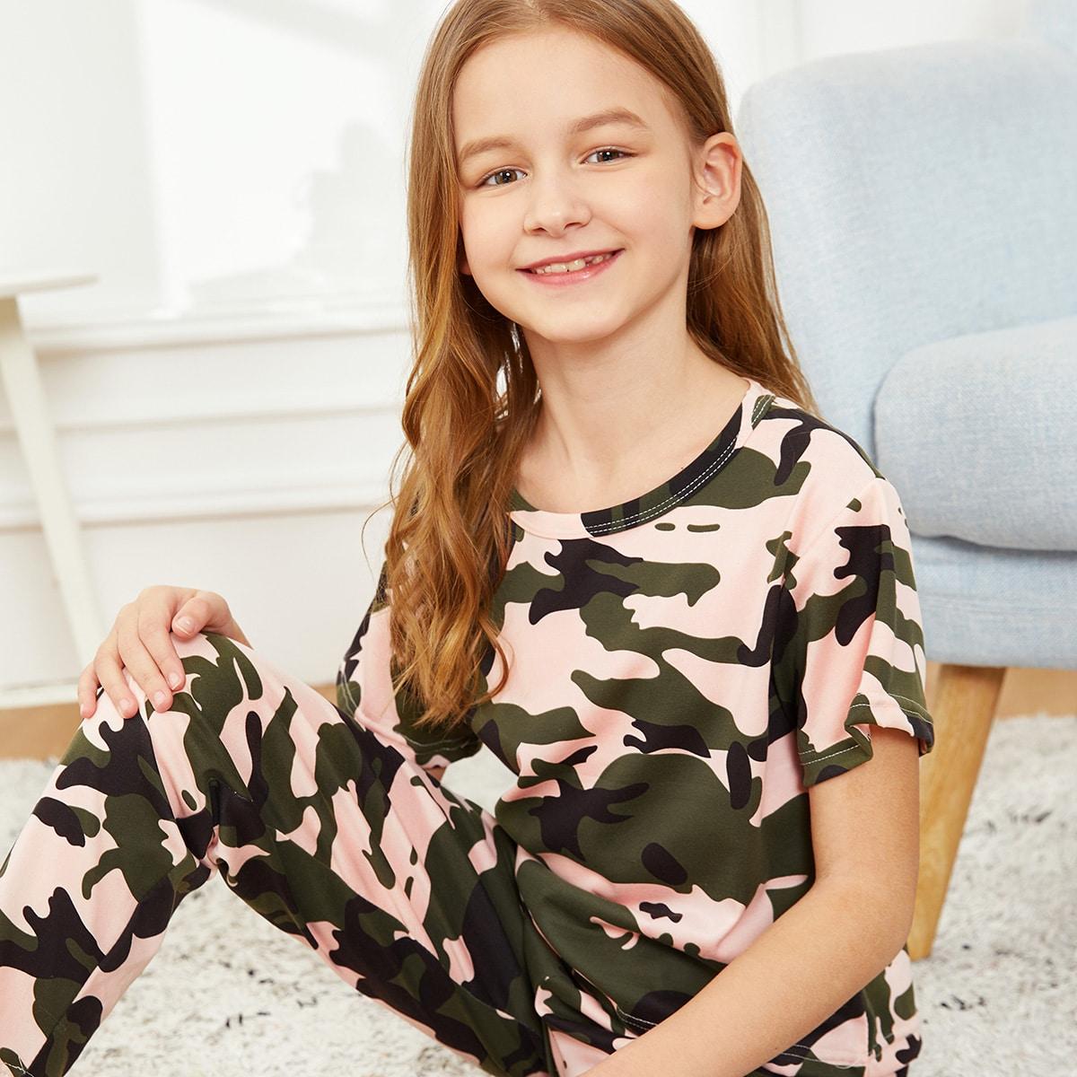 Камуфляжная пижама комплект для девочек от SHEIN