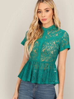 Mock Neck Sheer Floral Lace Peplum Top