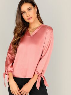 V-placket Knot Cuff Satin Blouse