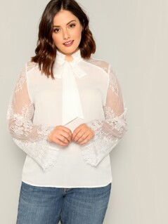 Plus Tie Neck Eyelash Lace Sleeve Top