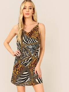 Cowl Neck Chain Print Cami Dress