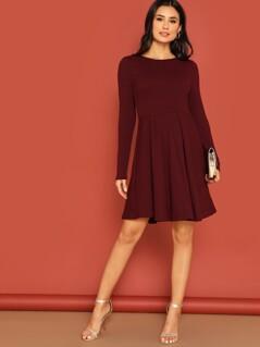 High Waist Rib-knit Fit & Flare Dress