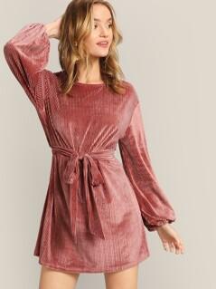 Keyhole Back Lantern Sleeve Belted Velvet Dress